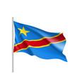 democratic republic of the congo realistic flag