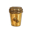 disposable cup with coffee beans isolated sketch vector image vector image