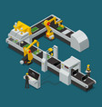 electronics factory equipment staff isometric vector image vector image
