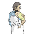 father holding his newborn baby tenderly vector image vector image