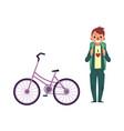 flat cartoon man tourist smiling bicycle vector image