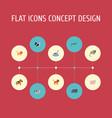 flat icons swine hippopotamus kine and other vector image vector image