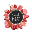 fresh meat banner cartoon sausages meat vector image