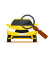 front view yellow car with magnifier icon vector image vector image