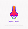 funny nose thin line icon vector image