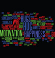 give a hug for happiness text background word vector image vector image