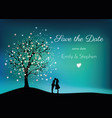 glowing tree on the night sky with pair in love vector image vector image