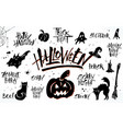 halloween lettering and clip art set vector image