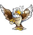 hand-drawn an eagle playing baseball vector image
