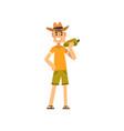 happy male farmer character cheerful gardener vector image vector image
