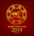 happy new year 2019 chinese art style pig 002 vector image