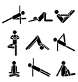 Icons yoga asana pose isolated on white background vector image