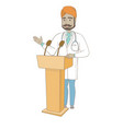 indian doctor giving a speech from tribune vector image vector image