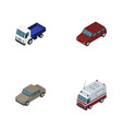isometric transport set of first-aid car auto vector image vector image