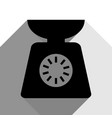 kitchen scales sign black icon with two vector image