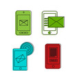 mail phone icon set color outline style vector image