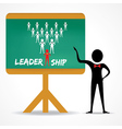 Man points to leadership concept on green board vector image