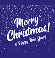 merry christmas and happy new year snow background vector image vector image