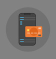 mobile payment icon cell smart phone and credit vector image vector image