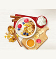 muesli fruits table composition vector image vector image