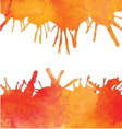 Orange watercolor paint background with blots vector image