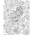 Parrot in fantasy garden vector image vector image