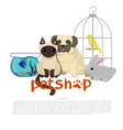 pet shop logo template with canary pug fish vector image