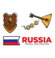 russia travel symbols for russian tourist and vector image vector image
