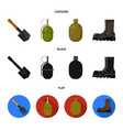 sapper blade hand grenade army flask soldier vector image vector image