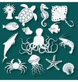 sea animals and fish icons vector image vector image