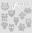 set alien faces collection vector image