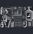 set hand drawn chalk pills and medicines vector image