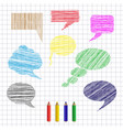 set of hand drawn colorful speech and thought vector image
