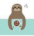 sloth sleeping i love coffee cup sleep sign zzz vector image vector image