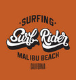 surf rider handwritten unique lettering template vector image