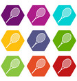 tennis racket icon set color hexahedron vector image vector image