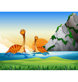 Two dinosaurs in the lake vector image vector image