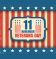 vintage poster for veterans day vector image