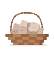 Wicker Basket with Truffles Flat Icon vector image vector image
