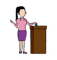 woman putting a ballot into a voting box vector image vector image