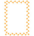 yellow animal paw prints border frame vector image vector image