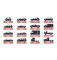 Car Type and Model Objects icons Set automobile vector image