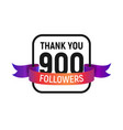 900 followers number with color bright ribbon vector image vector image