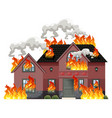 a modern house on fire vector image vector image