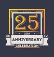 anniversary celebration logo 25 years label vector image