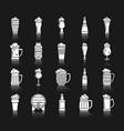beer mug white silhouette icons set