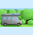 camper truck concept banner cartoon style vector image vector image