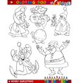 Cartoon Christmas Themes for Coloring vector image vector image