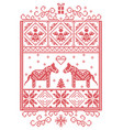 christmas pattern in rectangle frame dala horse vector image vector image
