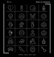collection of 24 halloween icons in thin line vector image vector image